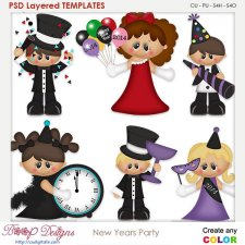 New Years Party Layered Element Templates