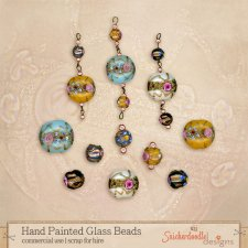 Hand Painted Glass Beads by SnickerdoodleDesigns