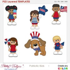 Patriotic Kids Layered Element Templates