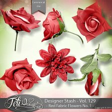 Designer Stash Vol 129 - Red Fabric Flowers No 1 by Feli Designs