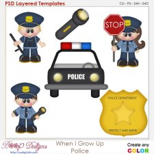 When I Grow Up Little Police Layered Element Templates