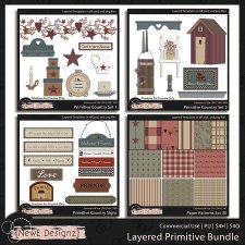EXCLUSIVE Layered Primitive Country Templates BUNDLE by NewE Designz