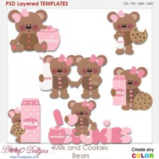 Milk and Cookies Bears Layered Element Templates