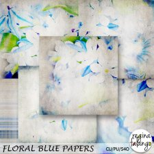 Floral Blue Papers by Reginafalango