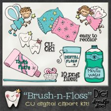 Brush-n-Floss - CU clipart