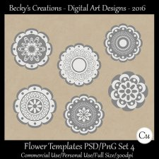 Flower Templates Set 4 PSD-PNG-Becky's Creations
