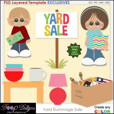 Yard Rummage Sale - EXCLUSIVE Layered TEMPLATES