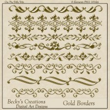 Gold Borders - PNG - by Beckys Creations