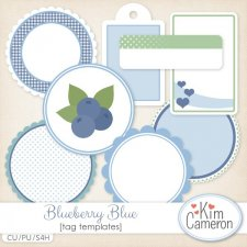 Blueberry Blue Tags Templates by Kim Cameron