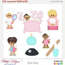 Girls Spa Day Layered Element Templates