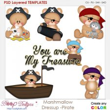 Marshmallow Dressup Pirate Layered Element Templates