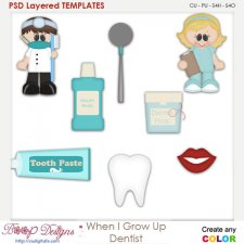 When I Grow Up Dentist Layered Element Templates