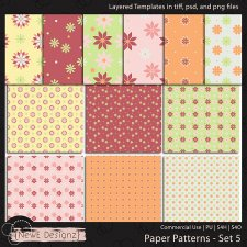 EXCLUSIVE Layered Paper Patterns Templates Set 5 by NewE Designz