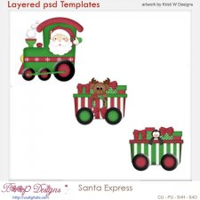 Santa Express Train Layered Templates COMBO Set