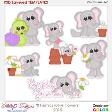 If Friends Were Flowers Elephants Layered Element Templates