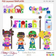 Color Run Fun Layered Element Templates
