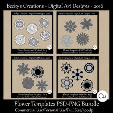 Flower Templates Bundle Set 1-4 - Cu-FS-PSD-PNG-Becky's Creations