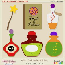 Witch Potions Layered TEMPLATES