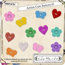 Cute Buttons 01 Action by Cida Merola