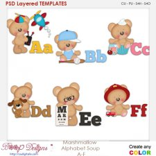 Marshmallow Bear Alphabet Soup A to F Layered Element Templates