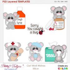 Get Well Wishes Mice Layered Element Templates
