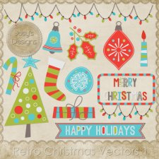 Retro Christmas Layered Vector Templates 1 by Josy