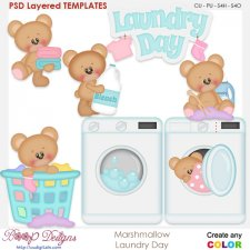 Marshmallow Laundry Day Layered Element Templates