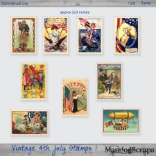 Vintage 4th July Stamps 1 by Mandog Scraps