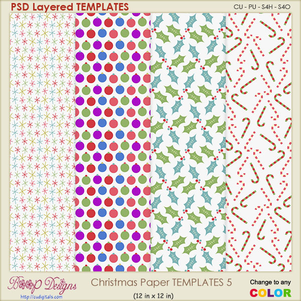 Christmas Paper Layered TEMPLATES 5