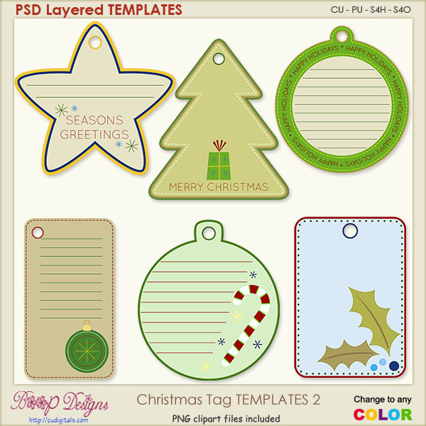 Christmas Tag Layered TEMPLATES 2