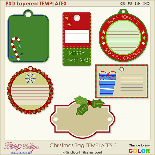 Christmas Tag Layered TEMPLATES 3