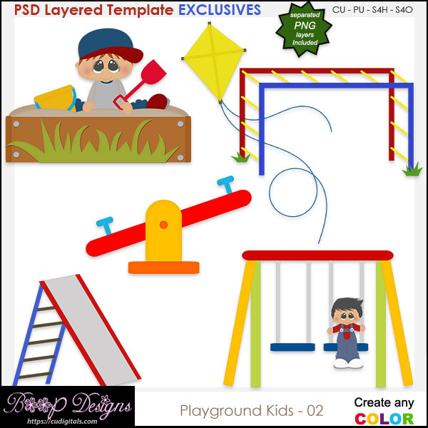 Playground Kids 02 - EXCLUSIVE Layered TEMPLATES