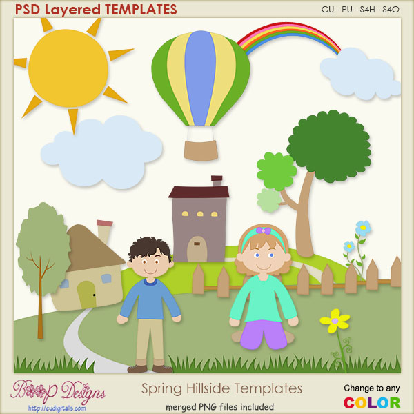 Spring Hillside Layered Templates Plus Clipart