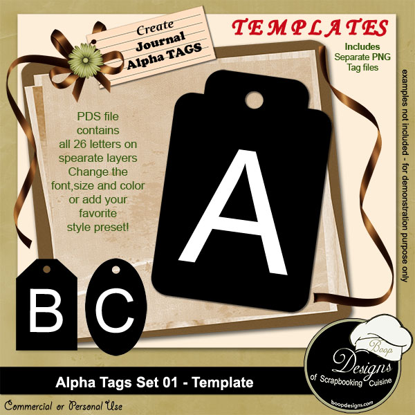Alpha Tags Set 01 TEMPLATE by Boop Designs