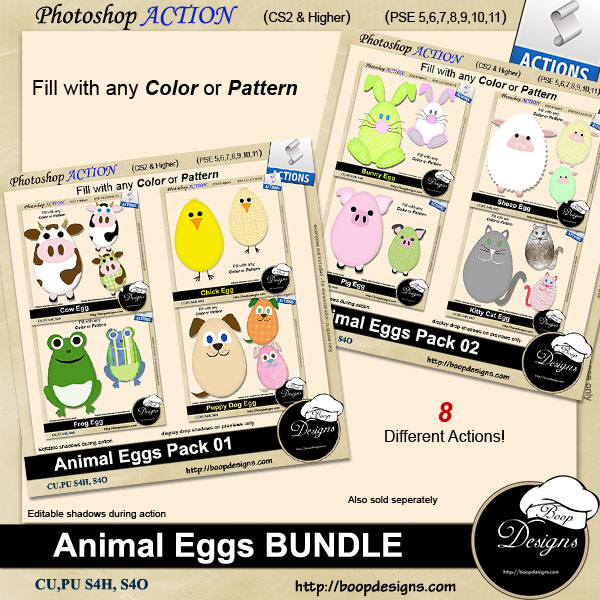 Animal Egg ACTION BUNDLE by Boop Designs