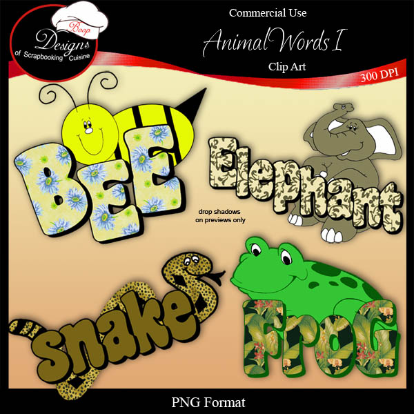 Animal Words I - CU Clipart by Boop Designs