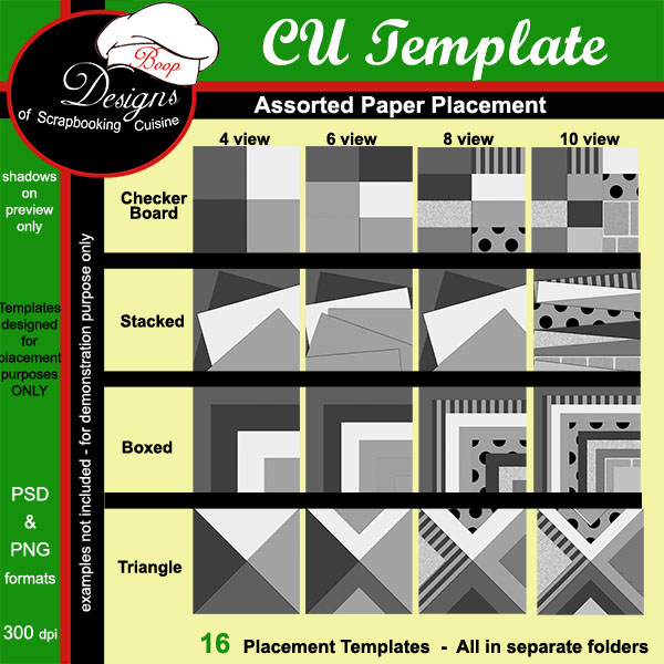Assorted Paper Placement BUNDLE TEMPLATES by Boop Designs