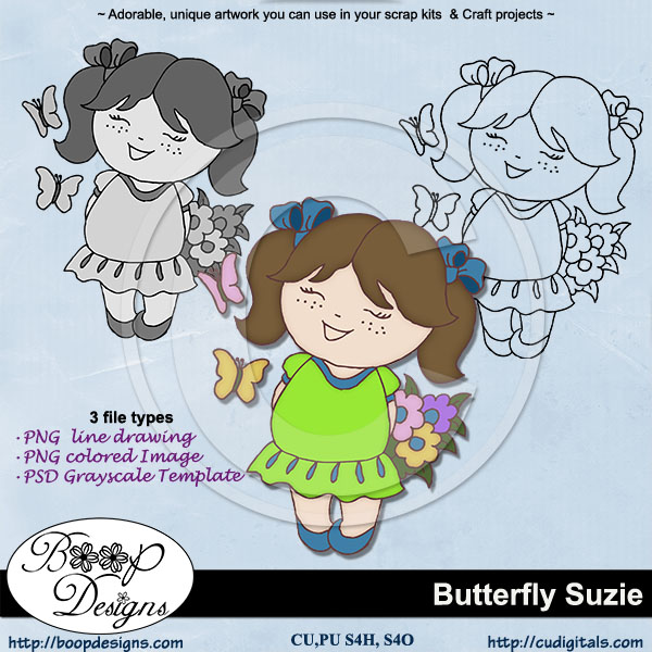 Butterfly Suzie - Lineart Clipart & TEMPLATE