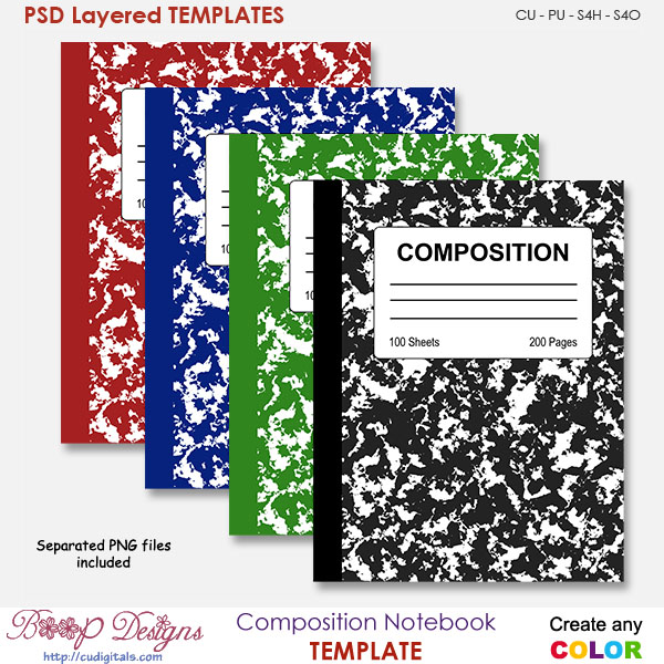 Composition Book Cover Template ~ Composition notebook cover template by boop designs
