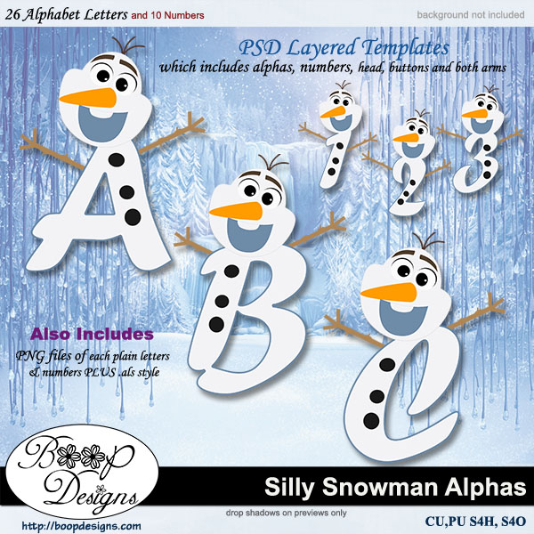 Silly Snowman Alpha & Number TEMPLATE Set by Boop Designs