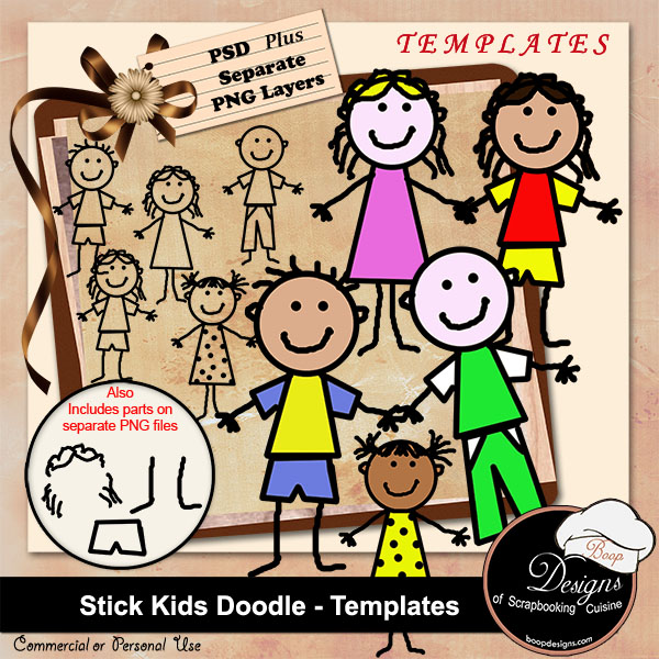 Stick kids Doodle - TEMPLATES by Boop Designs