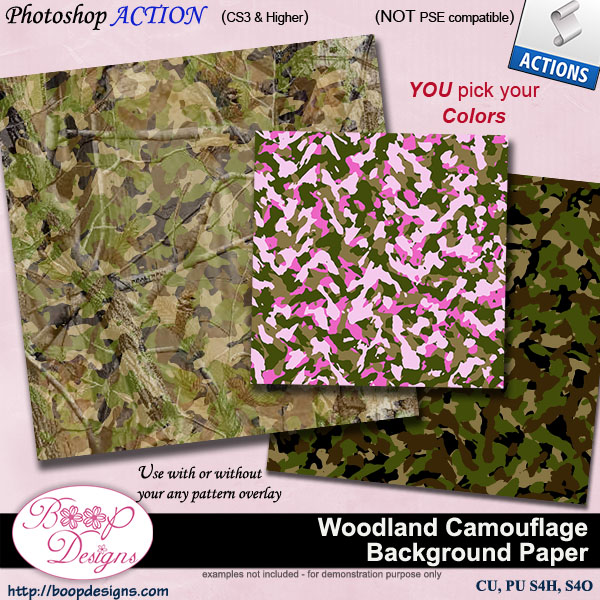 Woodland Camouflage Background Paper by Boop Designs