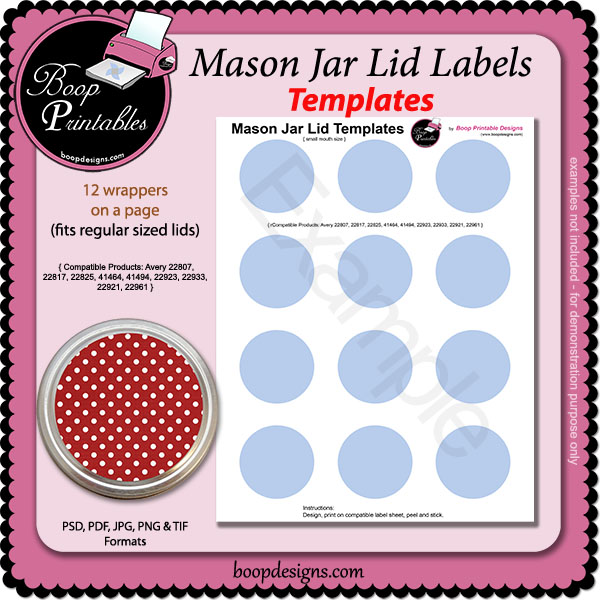 jar lid label templates sm by boop printable designs jar lid label