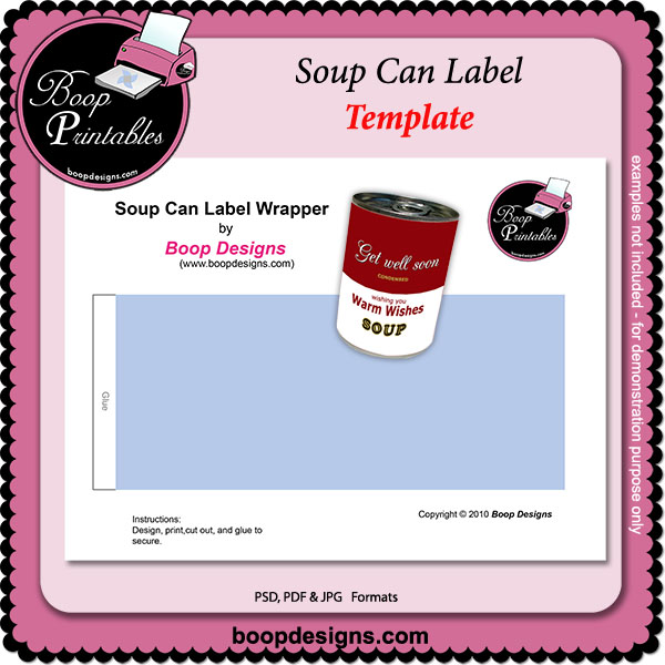 Soup Can Label TEMPLATE By Boop Printable Designs Soup Can Label