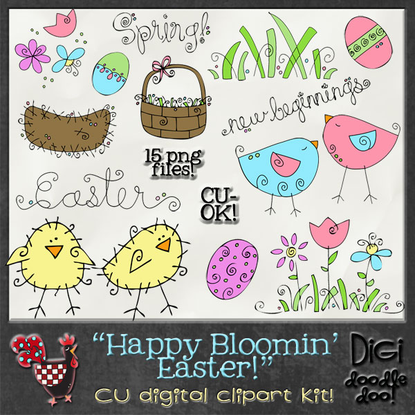 Happy Bloomin Easter CU clipart