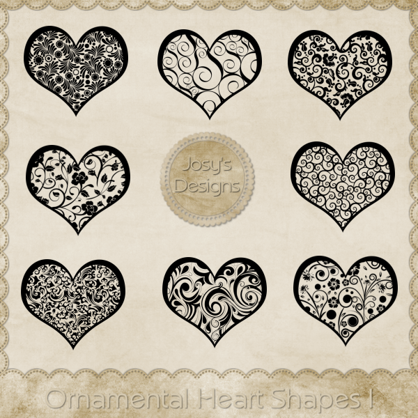 Ornamental Heart Shapes 1 by Josy