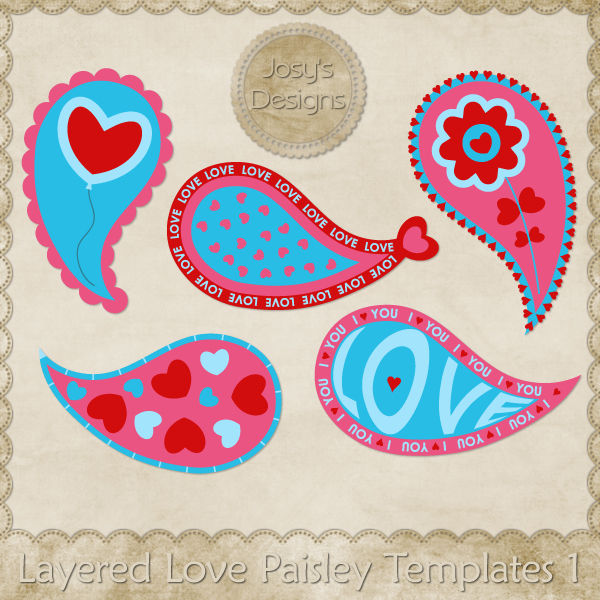 Layered Love Paisley Layered Templates by Josy