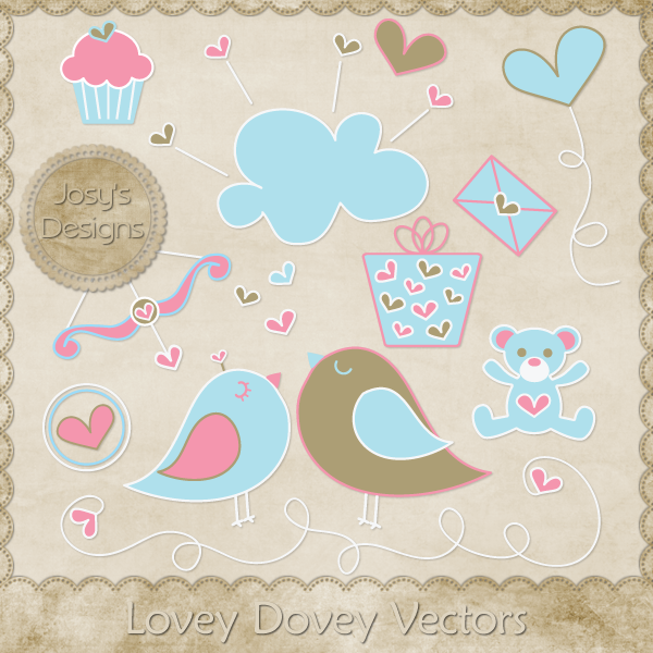 Lovey Dovey Layered Vector Templates by Josy