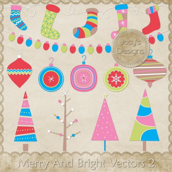 Merry And Bright Layered Vector Templates 2 by Josy