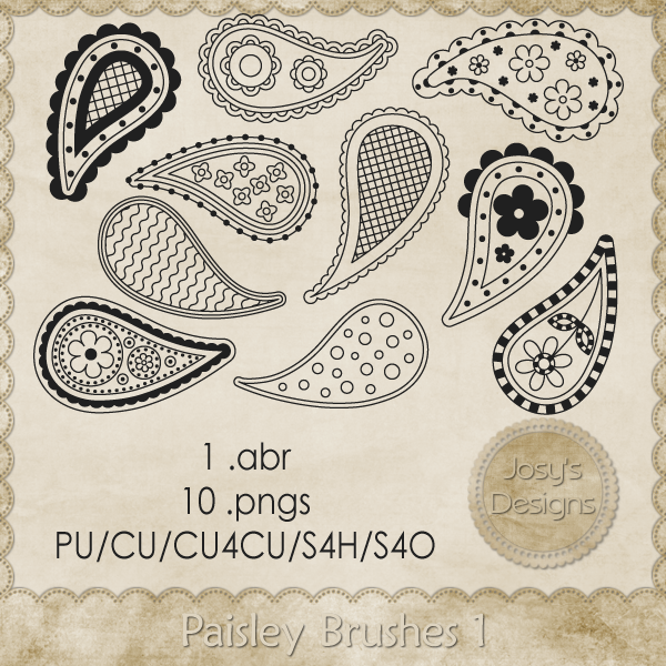 Paisley Brushes 1 by Josy